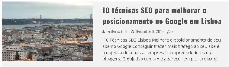 10 técnicas SEO para melhorar o posicionamento no Google em Lisboa